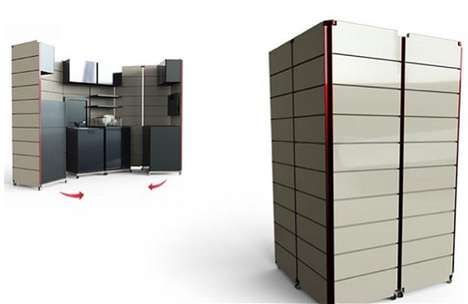 Convertible Cubicle Kitchenettes - The Goci Foldable Kitchen Acts as a Culinary Closet