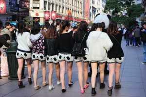 Girls Walked Through the Busiest Shopping District Wearing Panda Shorts