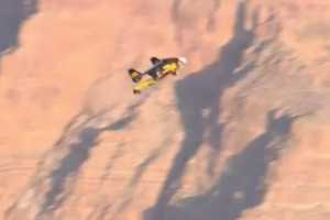 Swiss Jetman Yves Rossy Dives Over Grand Canyon
