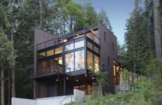 Enrapturing Forest Residences - Flowing Lake by David Vandervort Frames Modern Perspectives