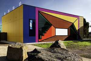 Avondale Heights Library Offsets Simple Design with Bold Colors