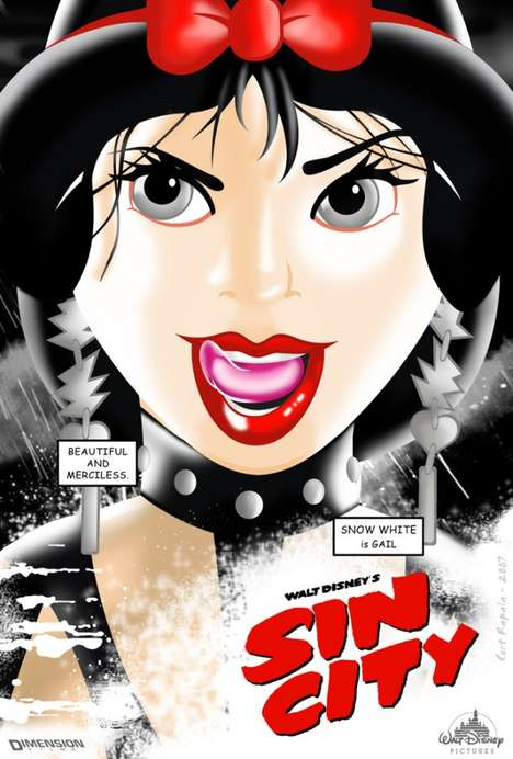 Sensual Cartoon Heroines - These Sin City Disney Princess Posters Show Good Girls Gone Bad