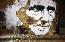 Charismatic Chipped-Paint Graffiti - Street Artist Farto Designs on Deteriorating Walls