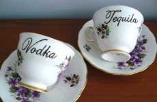 Tipsy Tea Cups - Trixiedelicious Tastefully Labels a Saucer Set for Hardcore Alcohol