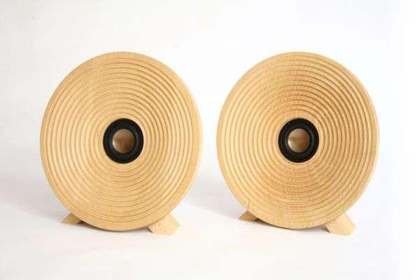 Spiraling Wood Speakers