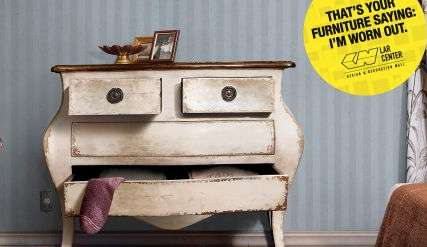 Personified Furniture Campaigns - These Lar Center Decoration Mall Ads Show Tired Timber Decor