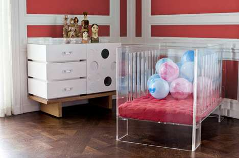 Crystal-Clear Tot Cots - The Hollis Crib is a Chic and Sheer Nursery Necessity