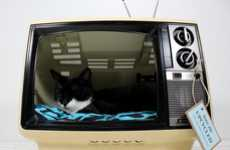 The Upcycled Vintage Sanyo TV Cat Bed is Humorous and Cute