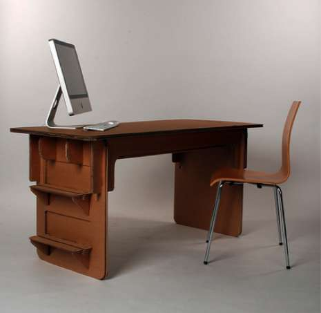 Cardboard Desk by Savio Ku
