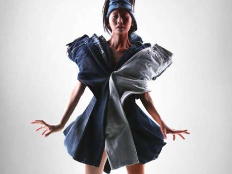 Layered Denim Dresses - Persona by Jeffrey Wang Applies Whole Jeans to Avant-Garde Apparel