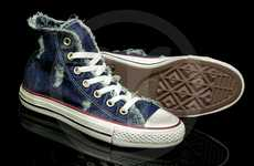 Classic Dungaree Kicks - These Denim Distressed Chuck Taylor Speciality Shoes are Vintage-Cool