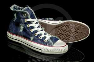 These Denim Distressed Chuck Taylor Speciality Shoes are Vintage-Cool