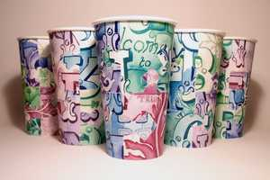 Isabel Eeles 'Brick Lane' Paper Cups Use Playful Pieced-Together Designs
