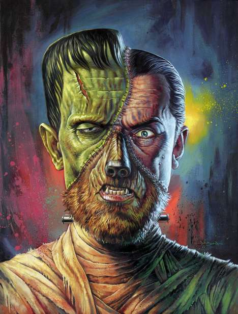 Movie Monster Mashes - Jason Edmiston Quirkifies Hollywood Horrors for Modern Generation