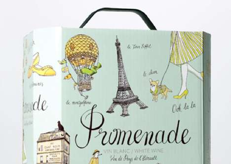 Hand-Drawn Wine Branding - Promenade Wine Packaging Illustrates the Parisian Experience