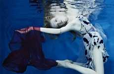 Stylishly Submerged Shoots - Soon Tong's Deep Blue Series is Surreal and Edgy
