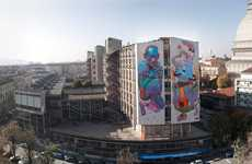 Sky-High Street Art - Aryz Stops Pedestrians in Their Tracks With Gargantuan Graffiti
