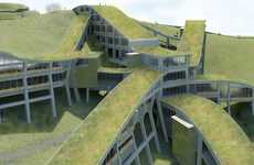 Grassy Snakelike Structures - The B iConic-Montecito Heights is Inspired by a Transport Network