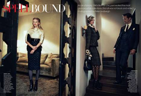 Retro Cinematic Editorials - Spellbound in Vogue Channels 40s Film Noir