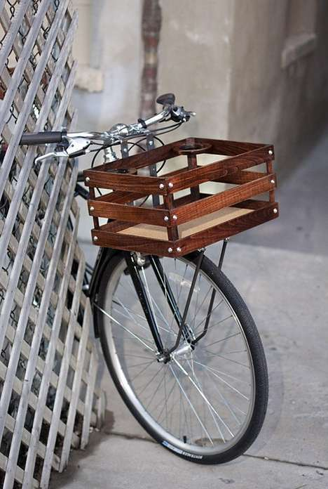 Handmade Wood Bicycle Crate