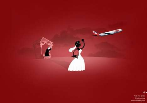 Runaway Bride Ads - The TAM Airlines Check-In Campaign Shows the Importance of Smooth Departures
