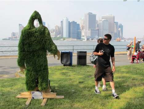 Grassy Sasquach Sculptures - Yeti by Misstika Lets Passers-By Become a Grass-Covered Bigfoot