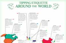 Global Dining Protocol Maps - The Tipping Etiquette Infographic is a Clever Travel Tool