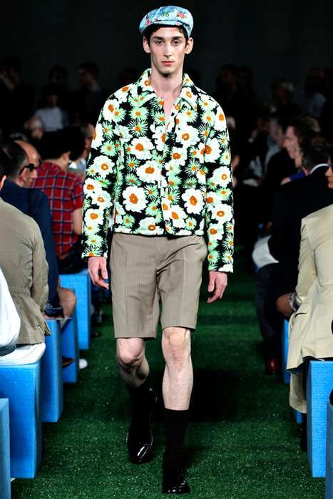 Funky Floral Menswear - The Prada 2012 Spring Line Combines Edgy Patterns & Bold Botanical Prints