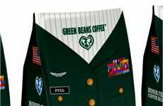 Uniformed Brew Branding - Green Beans Coffee Packaging is Bestowed with Badges of Honor