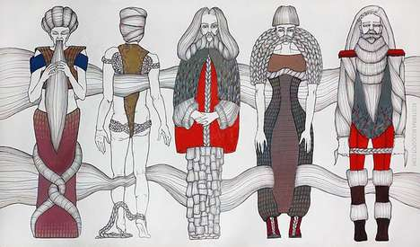 Mustachioed Fashion Illustrations - Katerina Kosterina's 'Inspired by hair' Shows Bearded Beauties