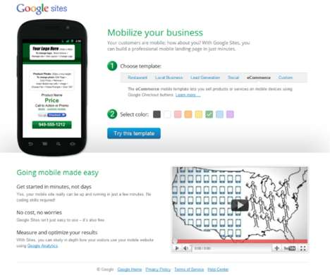 Google Mobile Landing Pages