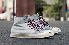 Distressed Denim Sneakers - The Aloha Rag 20th Converse Shoe is Zipped With Style