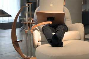 The Lounge-Wood Laptop Stand is for the Eco-Concious Computer User