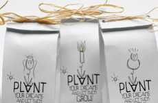 Home-Sewn Seedling Branding - Plant Your Dreams Packaging Encourages Aspiration