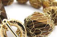 Woven Wired Adornments - Sari Glassman's 'Pupa' Jewelry Uses Metallic Coverings