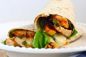 These 'BBQ Chicken, Brie and Plantain Wraps' Look Delish