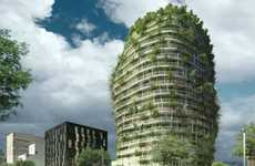 Tree-Lined Apartments - Tour Vegetale de Nantes Has an Organic Shape and Purpose