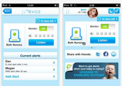 Mobile App Baby Monitors - The My Evoz iPhone App Keeps Tabs on Your Toddler for You