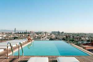 The Barcelona Grand Hotel Central Pool Overlooks the City