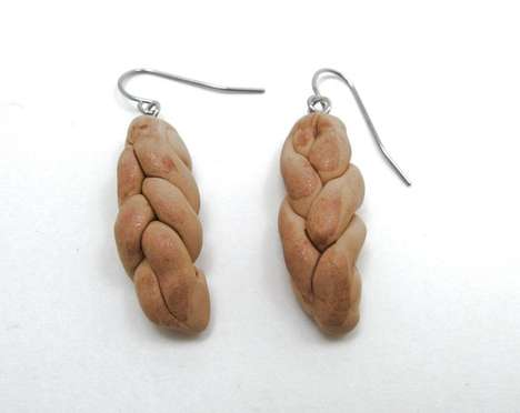 challah bread earrings