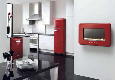 Energy Efficient Flueless Fireplace - Smeg For Retro Comfort