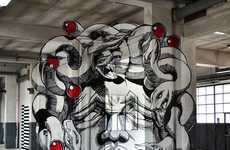 Graphic Garage Art - 'Truly Design' Creates an Anamorphic Medusa on Concrete Columns