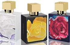Floral Watercolor Branding - The 'A Dozen Roses' Perfume is Packaged in Beautiful Vintage Bottles
