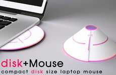 Convertible Cone Mice - Seung Han Jung's Disc+Mouse Flattens Into a CD When Not in Use