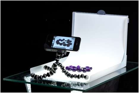 Portable Photo Studios - The Modahaus Table Top is Set-up for iPhone Jewelry Photography