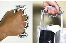 Jaw-Breaking Bag Hooks - These Grocery Bag Brass Knuckles are for Tough Shoppers