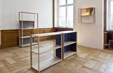 Quilted Back Bookcases - Daniel Becker's Victor Wooden Shelves are Warm and Simple