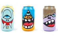 Kooky Caricature Cans - Greg Mike's POPSTARS AND COKEHEADS Series Displays Wacky Characters