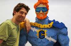 Bricked Superhero TV Hosts - Nathan Sawaya Gives Conan O'Brien a Heroic Makeover for 'Flaming C'