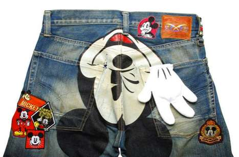 CLOT Mickey Mouse Patch Denim